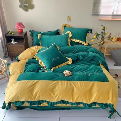 2020新款宝宝绒四件套—Luna蝴蝶结款 1.5m床单款 姜黄绿