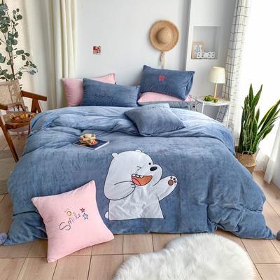 2019新款牛奶绒贴布绣四件套—卡通系列 1.2m床单款三件套 丘比特熊
