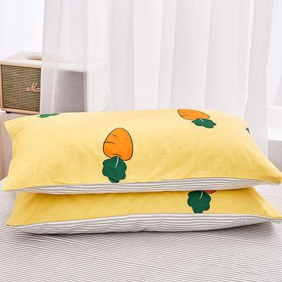 2020新款小清新风全棉12868单品枕套(48*74cm/对) 48*74cm/对 胡萝卜-黄