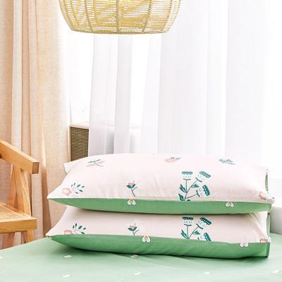 2020新款小清新风全棉12868单品枕套(48*74cm/对) 48*74cm/对 花颜细语-粉