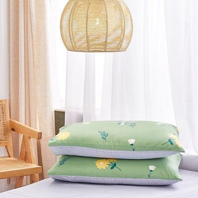 2020新款小清新风全棉12868单品枕套(48*74cm/对) 48*74cm/对 花颜细语-绿
