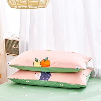 2020新款小清新风全棉12868单品枕套(48*74cm/对) 48*74cm/对 快乐果园-粉