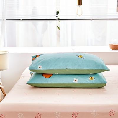 2020新款小清新风全棉12868单品枕套(48*74cm/对) 48*74cm/对 快乐果园-蓝