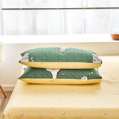 2020新款小清新风全棉12868单品枕套(48*74cm/对) 48*74cm/对 猫咪派对-绿