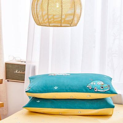 2020新款小清新风全棉12868单品枕套(48*74cm/对) 48*74cm/对 汽车达人-绿