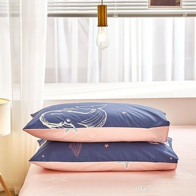 2020新款小清新风全棉12868单品枕套(48*74cm/对) 48*74cm/对 小鲸鱼