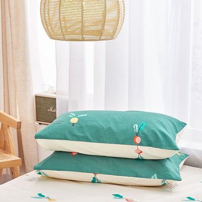 2020新款小清新风全棉12868单品枕套(48*74cm/对) 48*74cm/对 小萝卜-绿