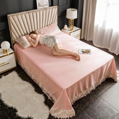 2020新款冰丝花边凉席床单款 1.8*2.3两件套 藕粉色