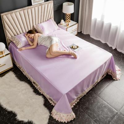 2020新款冰丝花边凉席床单款 1.8*2.3两件套 香芋紫