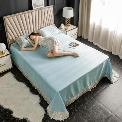 2020新款冰丝花边凉席床单款 1.8*2.3两件套 温润蓝