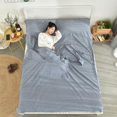 全棉水洗棉隔脏旅行睡袋 蓝细条180*210cm
