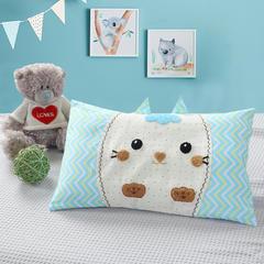 2018新款毛巾绣卡通儿童枕头 28*46cm(只) 猫咪黄蓝
