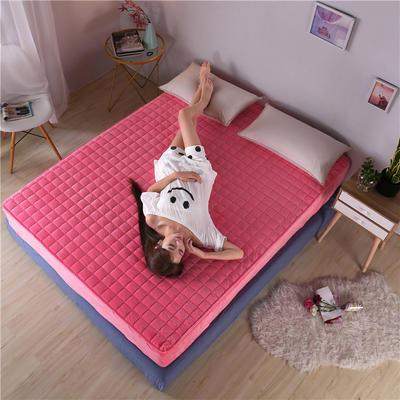 水晶绒夹棉床笠 120cmx200cm 粉色