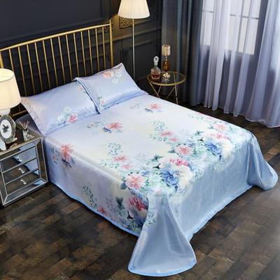 2019新款床单款冰丝凉席三件套 床单245X250cm 淡雅如心