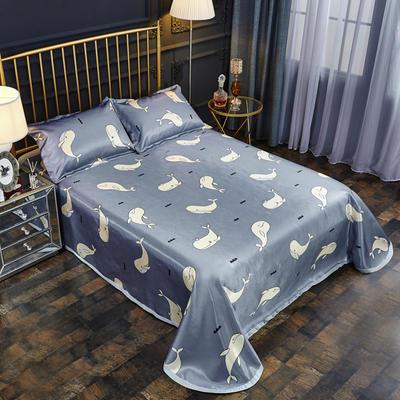 2019新款床单款冰丝凉席三件套 床单245X250cm 美妙海豚