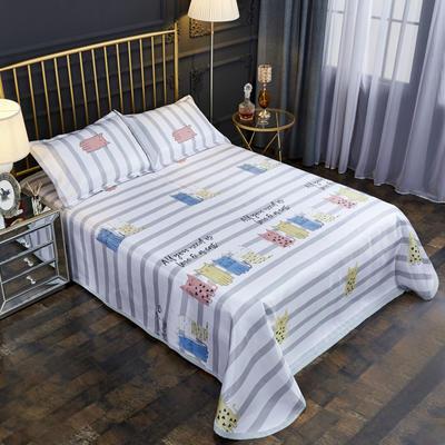 2019新款床单款冰丝凉席三件套 床单245X250cm 萌猫