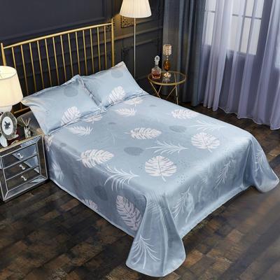 2019新款床单款冰丝凉席三件套 床单245X250cm 叶素灰