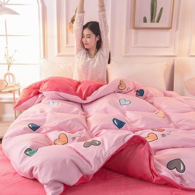 2019 A版全棉B版水晶绒被套棉加绒被套棉绒被套单品 160x210cm 浪漫心跳