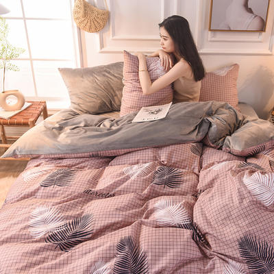 2019 A版全棉B版水晶绒被套棉加绒被套棉绒被套单品 160x210cm 连理枝