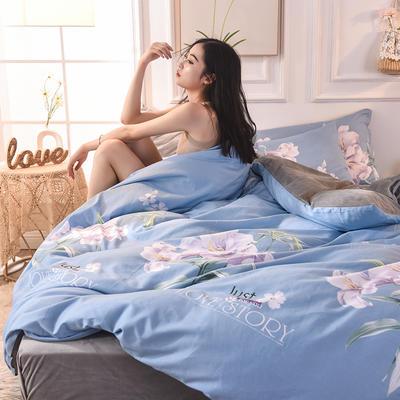 2019 A版全棉B版水晶绒被套棉加绒被套棉绒被套单品 160x210cm 美人如玉