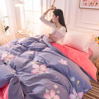 2019 A版全棉B版水晶绒被套棉加绒被套棉绒被套单品 160x210cm 清风伴月