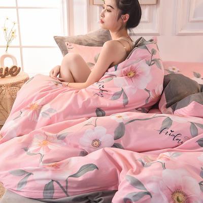 (焱博)2019 A版全棉B版水晶绒被套棉加绒被套棉绒被套单品 160x210cm 温婉雅逸