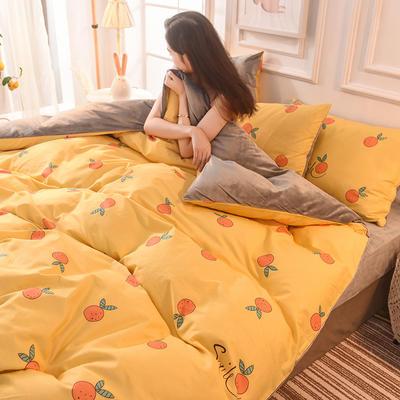 (焱博)2019 A版全棉B版水晶绒被套棉加绒被套棉绒被套单品 160x210cm 小鲜橙