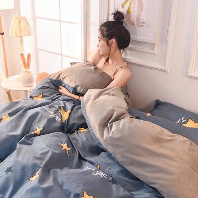 (焱博)2019 A版全棉B版水晶绒被套棉加绒被套棉绒被套单品 160x210cm 星辰