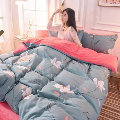 (焱博)2019 A版全棉B版水晶绒被套棉加绒被套棉绒被套单品 160x210cm 长相依