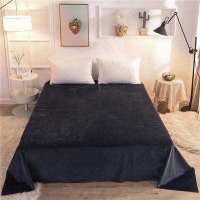 (焱博)2019新款 抗静电 加厚纯色水晶绒床单单件单品床单 180cmx230cm 藏青