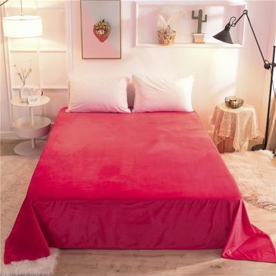 2019新款 抗静电 加厚纯色水晶绒床单单件单品床单 180cmx230cm 品红