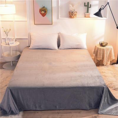 2019新款 抗静电 加厚纯色水晶绒床单单件单品床单 180cmx230cm 银灰