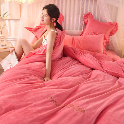 (焱博)新款 抗静电加厚宝宝绒四件套水晶绒四件套珊瑚绒四件套 1.8m(床单款四件套) 唯爱 粉红