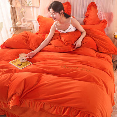 新款 抗靜電加厚寶寶絨四件套水晶絨四件套珊瑚絨四件套 1.8m(床單款四件套) 唯愛 靚橙