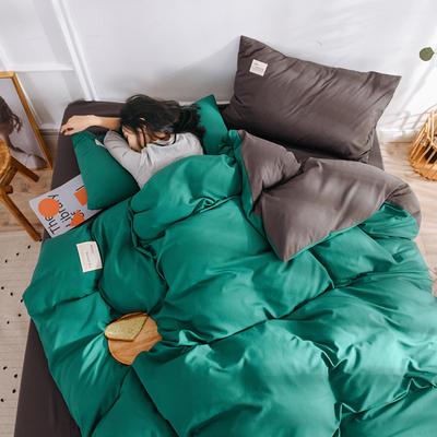 2019新款水洗磨毛四件套 1.2m床四件套 高级灰+墨绿