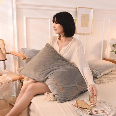 2020新款加厚水晶绒刺绣炫彩系列-单枕套 48cmX74cm/对 炫彩 银灰