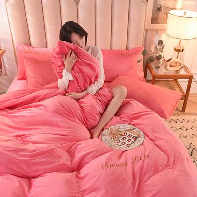 2020新款加厚水晶绒刺绣炫彩系列-四件套 1.2m床单款三件套 炫彩 粉红