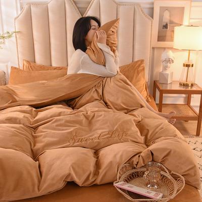 2020新款加厚水晶绒刺绣炫彩系列-四件套 1.2m床单款三件套 炫彩 狮驼