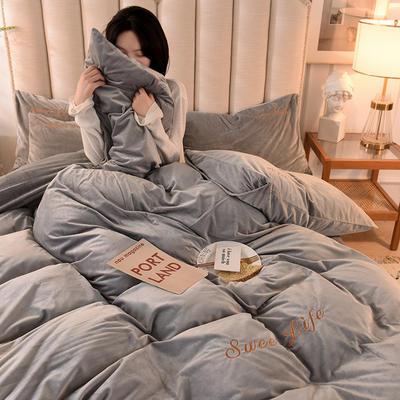 2020新款加厚水晶绒刺绣炫彩系列-四件套 1.2m床单款三件套 炫彩 银灰
