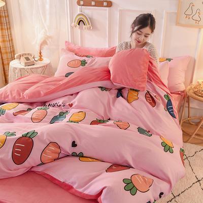 2020新款加厚棉加绒四件套水晶绒四件套 1.2m床单款三件套 七彩萝卜