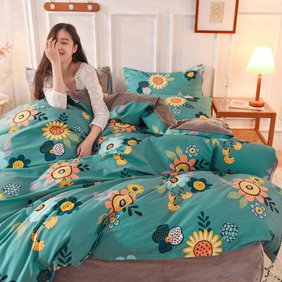 2020新款加厚棉加绒四件套水晶绒四件套 1.2m床单款三件套 向日葵的微笑