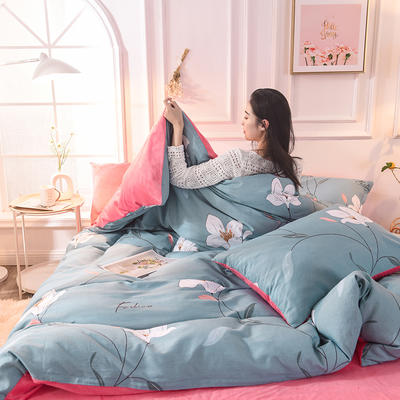 2020新款加厚棉加绒四件套水晶绒四件套 1.2m床单款三件套 长相依