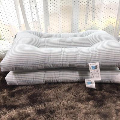 微枕芯 磨毛水洗棉枕 蓝色条纹48*74cm/只