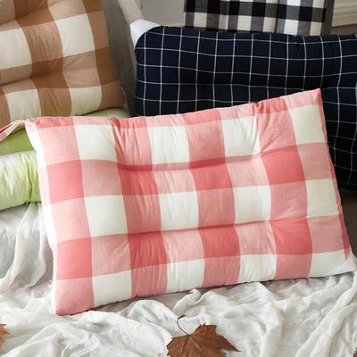 微枕芯 色织水洗棉护颈枕 48*74cm/只粉色格子