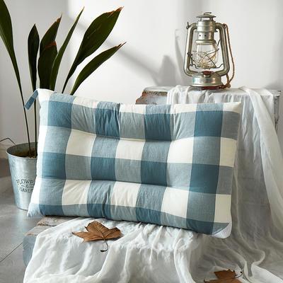 微枕芯 色织水洗棉护颈枕 48*74cm/只蓝白格子