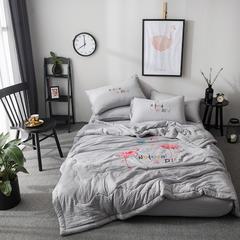 微枕芯 水洗棉单夏被 200X230cm 火烈鸟灰色