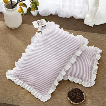 2018新款-韩式水洗棉全荞麦枕30*55cm 粉色条纹