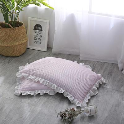 2018新款-韩式水洗棉全荞麦枕 30*50cm粉色条纹