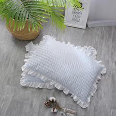 2018新款-韩式水洗棉全荞麦枕 蓝色条纹40*60cm
