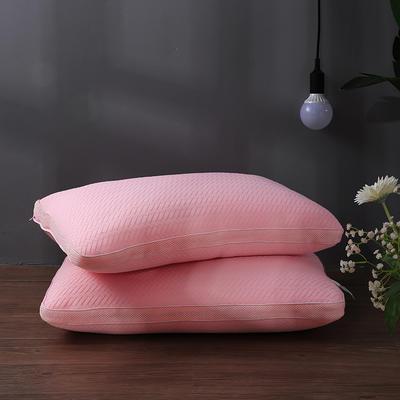 2018新款-可水洗热熔枕白色48*74cm 浅粉色/只